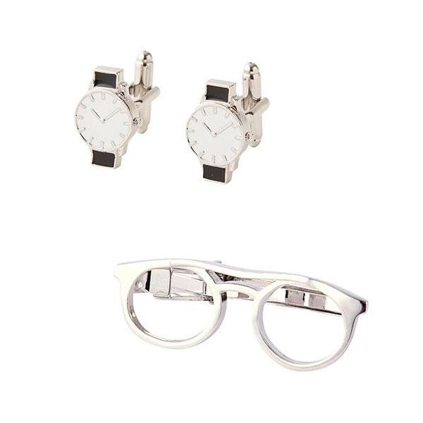 【クーポンあり】茶谷産業 Fashion Accessory Collection タイピン&カフスセット(メガネ&腕時計) 700-600 おしゃれ ギフト メガネ ユニーク アクセサリー メンズ 腕時計 個性的