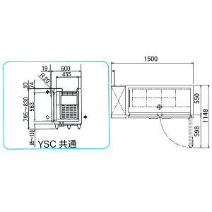 新品税送料込フクシマ業務用YSC-150RE2-A薄型W1500×D600×H810(mm)冷蔵327L(YSC-150RE-A)福島工業サンドイッチテーブル冷蔵庫