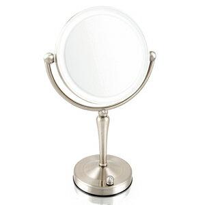 拡大鏡5倍拡大+等倍鏡+LEDライト付き真実の鏡DX両面Z型ブロンズ調人気No.1両面型を真鍮仕上げとジルコニアで高級感UP。シミ・しわ・たるみ・毛穴が驚くほど良く見える拡大鏡を、くるっと返せば等倍鏡でとっても便利!