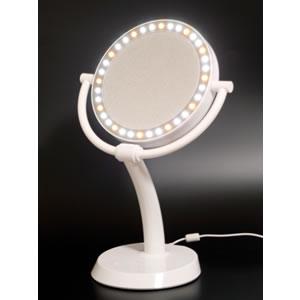 【ポイントアップ中】自然な太陽光、白熱灯、蛍光灯を再現できるプロ仕様 7倍拡大鏡+等倍鏡 角度調節可 万雄 ダイアモンドミラー 両面型 LEDライト付き /メイクアップミラー かがみ カガミ ミラー メイクミラー 丸 鏡 ライト 化粧鏡 スタンド 卓上