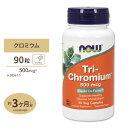 3種類のクロミウムトリクロミウム 500mcg (シナモン配合)90粒 NOW Foods(ナウフーズ)