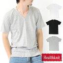 HealthKnit ヘルスニット ワイドリブ Vネック Tee/メンズ Tシャツ カットソー 半袖 インナー シンプル 無地 コットン 新作【ネコポス可】