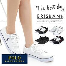 ポロ・ラルフローレンレディーススニーカー靴シューズPOLORALPHLAURENBRISBANEポロラルフローレンカジュアルキャンバスローカットスニーカー白黒ブリスベン