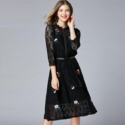 6b0969f3a9508 ベルト付き花柄刺繍レースドレス ワンピース。 袖やデコルテの透けん感が女度UP!繊細な花柄レースに花柄刺繍、 ロマンチックで優しい印象を与えてくれます!