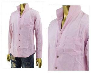 IMPROVES インプローブス 綿麻 パナマ織り ストレッチ 大人っぽい胸元を演出する襟元で色気のある着こなしが可能な イタリアンカラーシャツ メンズ 【SBST-089 イタリアンカラ-】