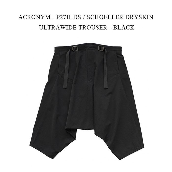 メンズファッション, ズボン・パンツ ACRONYM - P27H-DS SCHOELLER DRYSKIN ULTRAWIDE TROUSER - BLACK