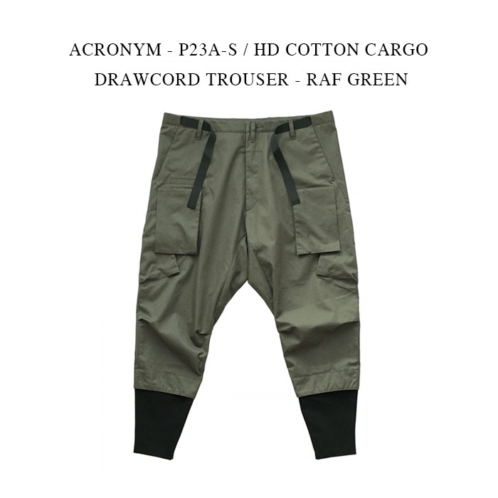 メンズファッション, ズボン・パンツ ACRONYM - P23A-S HD COTTON CARGO DRAWCORD TROUSER - RAF GREEN