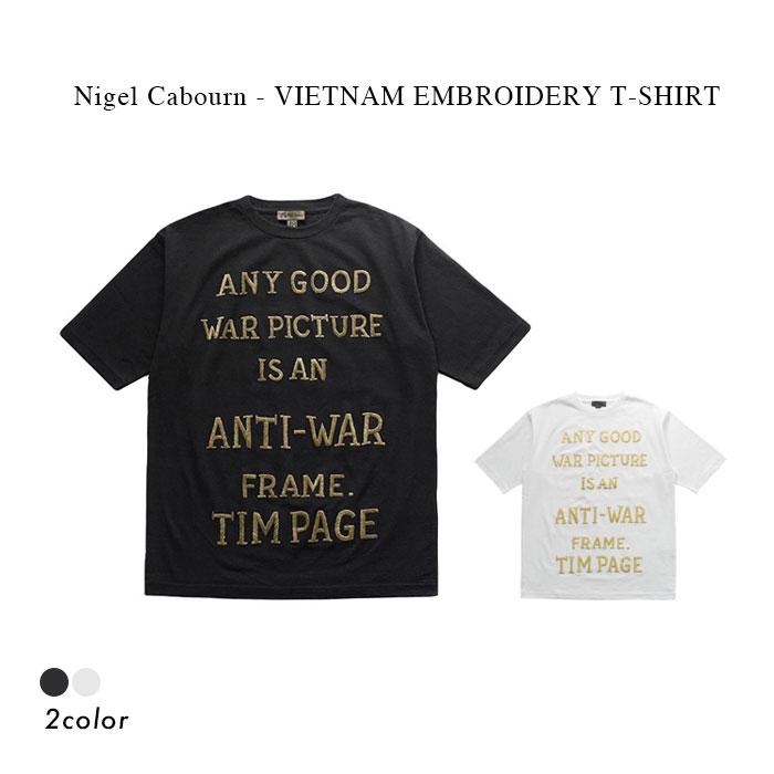 トップス, Tシャツ・カットソー 30OFFNigel Cabourn - VIETNAM EMBROIDERY T-SHIRT - BLACK WHITE T