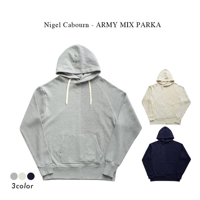 トップス, パーカー Nigel Cabourn - ARMY MIX PARKA - GREY IVORY DARK NAVY