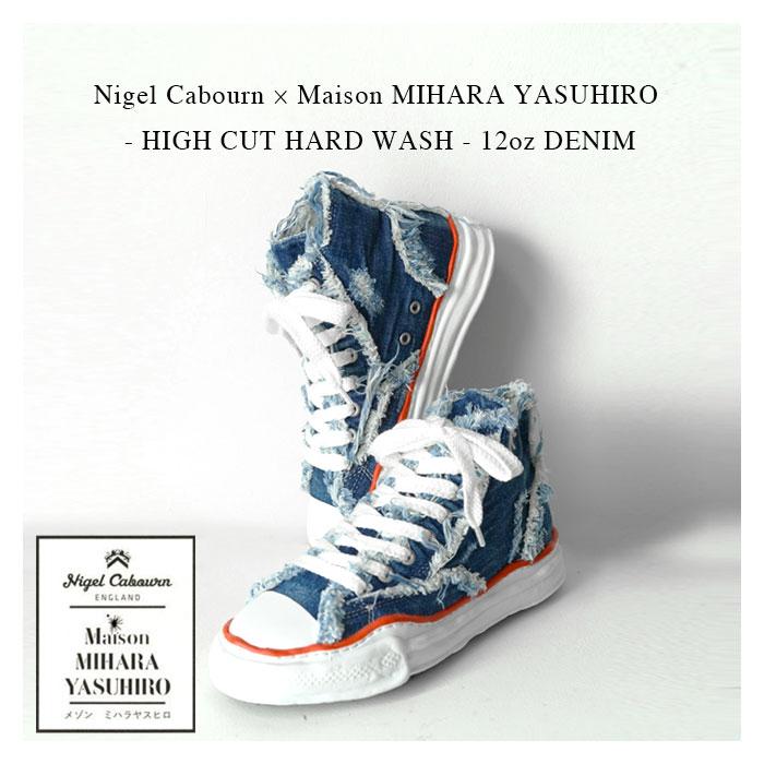 メンズ靴, スニーカー 525Nigel Cabourn Maison MIHARA YASUHIRO - HIGH CUT HARD WASH - 12oz DENIM