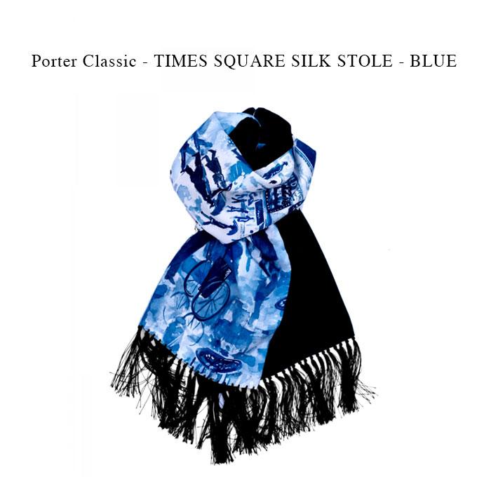 マフラー・スカーフ, メンズマフラー・ストール Porter Classic - TIMES SQUARE SILK STOLE - BLUE