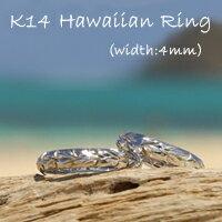 【ゼクシィ掲載】【K14ハワイアンリング3mm幅2mm厚】ハワイアンジュエリー/puaally/手彫り/指輪/14金/リング/ペアリング/ゴールド