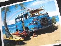 【デザイン250以上】ハワイアンポスター/水色バン&レインボー(ハワイ雑貨/ハワイアン雑貨/ハワイアンインテリア/アメリカン雑貨/ハワイアンポスター/ハワイポスター/ポスター)
