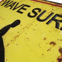 ハワイアン雑貨/ハワイ雑貨【ブリキ看板/WaveSurf(サーファー)】(ハワイ/ハワイアンインテリア/看板/サインプレート/アメリカン雑貨/エンボスプレート/サーフボード)