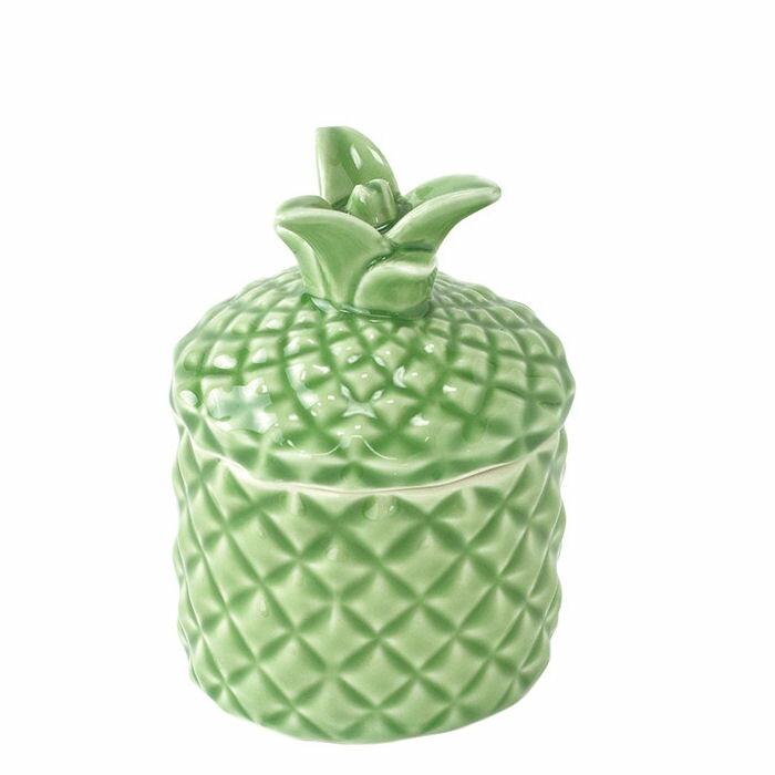 パイナップル ふた付き 小物入れ Symbol of Resortパイナップル柄 ハワイアン雑貨 ハワイ 雑貨 インテリア ハワイアン おしゃれ かわいい アジアン バリ 南国 食器 入れ物 キャンディーポットキッチン小物 置物 磁器 陶器