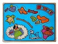 ハワイアン雑貨ハワイ雑貨【パズルハワイの島々】ハワイハワイアン知育パズルお祝い知育玩具木のおもちゃ型はめ木のパズル土産プレゼント
