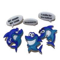 ボタン手芸【メール便OK】シャーク6個入8308ハワイハワイアン雑貨かわいい男の子飾りボタン海外カラフルアメリカ直輸入入学準備入園準備目印手芸用品アメリカボタン手芸ボタンjjさかな魚さめサメ