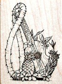 ハワイアンスタンプ/Mサイズゴム製スタンプウクレレ(スクラップブッキング/ハワイ/ハワイ雑貨/ハワイアン雑貨/ハンドメイドスタンプ/ハンコ/はんこ/手作り)