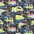 ハワイアンファブリック/綿100%【ゆうパケットで、送料160円】【50cm単位】【マウイ カウアイなど/ブラック】(ハワイアン 生地/生地 ハワイ/ハワイアン ファブリック/ハワイ 雑貨/ハワイアン雑貨/カットクロス/ハワイ