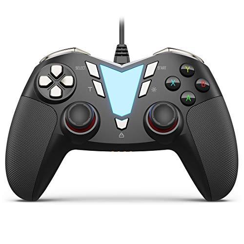 IFYOO ONE Pro 連射・振動機能搭載USB接続有線ゲームパッド PC コントローラー ゲーム用(Windows 10/8/7),Steam,Android スマホ/