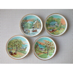 (With reason) 5.6 cm petit antique mini picture plate set of 4 (country home) decorative plate with plate stand Spoon rest Cutlery rest Showa retro domestic Mino Yaki Outlet Instagram look [cashless 5% reduction] dele