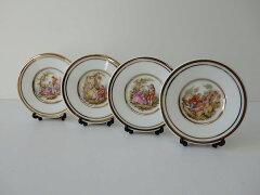 わけあり口径8cmプチアンティークミニ絵皿4枚セット中世の貴婦人皿立て付きスプーンレスト昭和レトロアウトレット陶器デザインスタンド飾り方アート