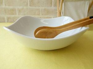 洋食器 スクエアーミール21cmサラダボール 大鉢角皿 白い食器 カフェ食器 大きめ 大