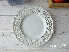ケーキ皿高級感白磁レリーフレース透かし彫り21cmプレートポーセラーツレンジ可食洗器対応インスタ北欧風来客用アンティーク風模様
