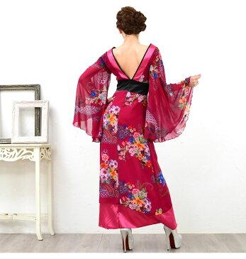 着物 ダンス 衣装 帯付き花魁シリーズ 和柄サテン着物ロングドレス 和柄がとても綺麗で光沢がありゴージャス!ステージ衣装 浴衣 セクシー着物 パーティ キャバクラ キャバ衣装 ナイトドレス セクシードレス 5871621-1052