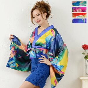Envío gratis Kimono mini vestidos Stretch frunce satinado con obis Oiran kimono vestidos Popular Oiran kimono serie Kimono disfraces de baile Disfraces de baile Ropa sexy Kimono de Oiran 5833639-1041
