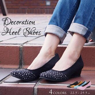 泵楔波光粼粼石頭楔形鞋跟鞋女裝鞋鞋泵鞋一些限量銷售 4529748-rs-002