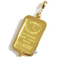 純金インゴット三菱20gk24シルバー925脱着可能枠付きペンダントトップ金色送料無料