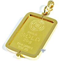 純金インゴット徳力20gk24シルバー925脱着可能枠付きペンダントトップ金色送料無料