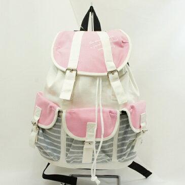ニットカラーコンビ3Pリュック ピンク 帆布×スウェット生地のシンプルなリュック ポケットたくさん 3つポケット 通学 旅行 中学 高校 小学 遠足 リュック 女の子 通学リュック かわいい 女の子 プレゼント