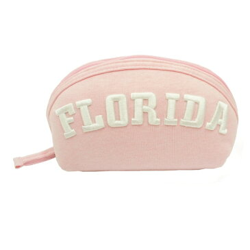 スウェットクリームシェル型ポーチ ピンク 立体刺しゅうロゴがかわいいスウェットポーチ☆ マチ付 大容量 パステルカラー ペンポ ペンポーチ ペンケース 筆箱 女の子