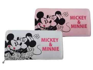 ミッキーミニースウェットラウンド長札 ピンク Disney(ディズニー)ミッキー&ミニーのかわいいラウンドファスナー長財布☆キャラクター スウェット