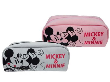 ミッキーミニースウェットポーチ ピンク (ディズニー)ミッキー&ミニーのかわいいスクエア型ポーチ☆Disney 大容量 キャラクター 日本製 ペンポーチ ペンケース 筆箱 女の子