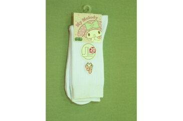 20cm丈お花リボンマイメロ ホワイト マイメロディ サンリオ スクールソックス 20cm丈 靴下 白 ワンポイント 刺繍 ショート丈