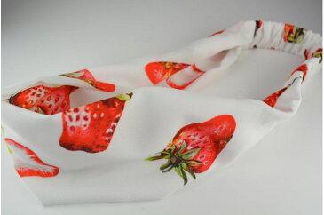 TAストロベリープリント WH/RD ヘアターバン ターバン ヘアバンド ヘアアクセサリー ヘアアクセ ヘッドアクセ いちご フルーツ 果物 柄 夏 かわいい 派手 カラフル レディース 女の子