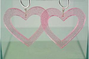 PEハートクリアーラメL PK イヤリング フープ アクセサリー ハート クリア ラメ キラキラ 大きめ ピンク ファッション雑貨 ファッション小物 レディース キッズ ジュニア かわいい