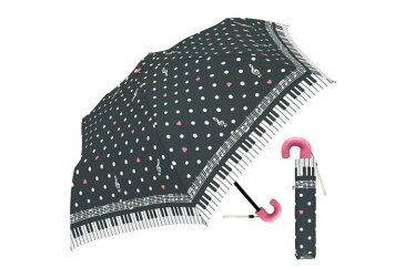 50cm子供折 ポルカドットミュージック BK 折りたたみ傘 子供 女の子 キッズ レディース 傘 かわいい 50cm 水玉 かわいい おしゃれ