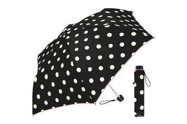 55cm耐風折 シンプルドット BK 折りたたみ傘 レディース 風に強い 傘 丈夫 かわいい 耐風 台風 水玉 かわいい おしゃれ