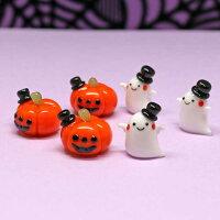 ガラス細工ハロウィン6個セットオシャレかぼちゃ×3個、オシャレゴースト×3個の6個セットです。ハロウィンHALLOWEEN魔女ゴーストカボチャガラスキャンドルろうそくロウソクglass