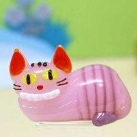 ガラス細工お喋りネコちゃんアリスありす不思議冒険ネコねこ猫物語ミニチュアインテリアディスプレイオブジェキャンドル手作り材料キットおしゃれかわいい置物雑貨小物glass