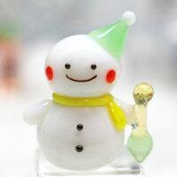 ガラス細工スノーマンとスコップクリスマススノーマン雪だるまプレゼントミニチュアガラスディスプレイオブジェキャンドル手作り材料キットおしゃれかわいい置物雑貨小物glass