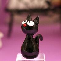 ガラス細工みつめるクロネコハロウィンHALLOWEENおばけお化けオバケゴーストねこネコ猫黒猫ミニチュアインテリアディスプレイオブジェキャンドル手作り材料キットおしゃれかわいい置物雑貨小物glass