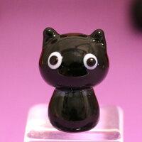 ガラス細工黒猫ちゃんハロウィンHALLOWEENおばけお化けオバケゴーストねこネコ猫黒猫ミニチュアインテリアディスプレイオブジェキャンドル手作り材料キットおしゃれかわいい置物雑貨小物glass