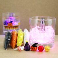 自分で作る!!ハロウィンLEDセットA03(ガラス細工3個付き・カラーサンド(ホワイト・イエロー・オレンジ・ブラック)HALLOWEENハロウィンかぼちゃカボチャお化けキャンドル蝋燭ろうそくプレゼントオリジナル手作り材料キット