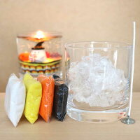 自分で作る!キャンドル4点セット(ハロウィンカラー)【カラーサンド×4色(イエロー、オレンジ、ホワイト、ブラック)、グラス、芯、クリアジェル】キャンドル蝋燭ろうそくロウソク自由研究工作オリジナル手作り材料キット