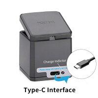 TELESINGoProHero7black/Hero6/Hero5/goprohero用互換バッテリー3個ボックス収納式USB充電器付き3個バッテリーケース付きType-Cインターフェイス3個同時充電可能(充電器+3バッテリー+type-c)